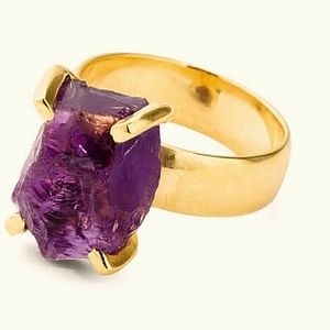 Purple amethyst Natural stone ring